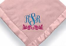 personalized baby girl initial blanket ~ Embroidered Baby girl initial blanket