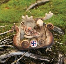 Nyform Norway Seafaring Troll in Viking Ship with Moose Figure, NEW