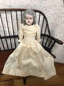 "Antique Minerva Doll Germany Tin Metal Head Handpainted 16"" Original"
