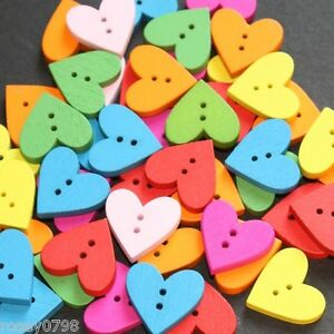 50 x Heart Craft  Wooden Buttons 18mm Cardmaking Embellishments Toppers