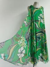 Stunning Escada dress green tube pencil with silk floaty over layer 34 XS UK8
