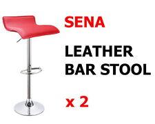 2 x PU Leather Bar Stool Kitchen Chair Adjustable Gas Lift Red Sena