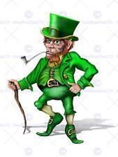 Nursery leprechaun irlandais conte de fée vert costume enfants chambre à coucher art affiche MP4318B