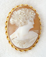 Beautiful Antique Estate Large 10K Gold Carved Shell Cameo Brooch or Pendant