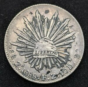 MEXICO SILVER 8 REALES 1888 8R Zs F.Z 10 D 20 C