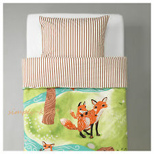 IKEA VANDRING RAV Duvet Cover 2 pc set TWIN Kids Bed Children Forest Fox NEW