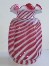 Fenton cranberry swirl candy cane striped red white opalescent vase ruffled top
