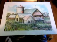 """Illinois Farm Scenes 4, Signed Art Print by Fred V. Mills   9.5"""" x 7"""""""