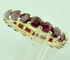14k Solid Yellow gold Natural Ruby Eternity Ring Prong  6.25 ct July Birthstone