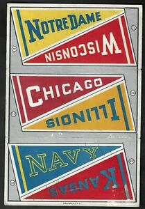 1930's Lithographed College Pennants(Luggage Labels) Sheet-Notre Dame,Navy,+++