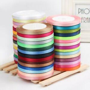22M Silk Satin Ribbon Roll 6/10/12/15MM Crafts Wedding Birthday Party Decor 25YD