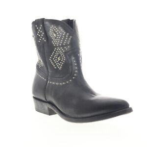 Frye Billy Stud Short 70442 Womens Black Leather Slip On Western Boots 5.5