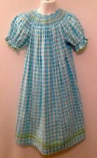 VIVE LA FETE NWOT Smocked Corduroy Dress Aqua Green Geometric Girl's 6 Rick Rack