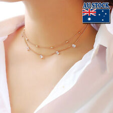 18k Gold Plated Woman Multilayer CZ Crystal Choker Chain Necklace