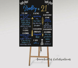 18th 21st 30th 50th Personalised Birthday Party Board Print Decoration PrintFile