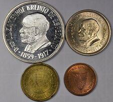 Esperanto 1959 - Four Different UNC Coins, 1,5,10 & 25 Steloj - Silver! Set #1