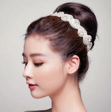 Wedding Bridal Beaded Rhinestone Crystal Hair Band Headband Headpiece Ribbon Tie