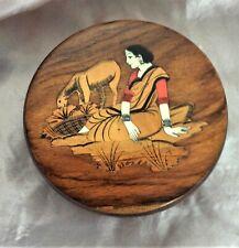 Beautiful Rare Antique Wooden Inlaid Art Vanity Powder Bowl
