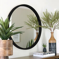 NEW Tina Black Solid Round Wood Mirror - 100 cm -  BACK IN STOCK
