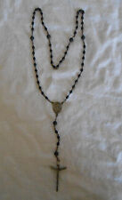 Vintage black bead rosary lovely vintage piece Italy