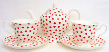 Love Hearts Tea Set for Two Bone China Red Hearts Teapot 2 Cups 2 Saucers Set