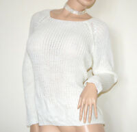 CHEMISE BLANCHE femme manche longue maillot pull laine mohair made en Italy G59