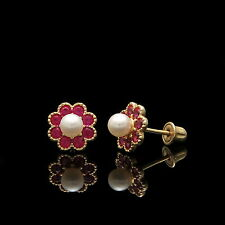 1Ct Created Ruby & Pearl Halo Earrings 14k Yellow Gold Flower Studs Screw-Back