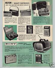 "1962 PAPER AD Sony Portable Transistor TV Television 8.5"" Screen Hilton Radio"