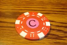 """ C "" Monogram Dice design Poker Chip,Golf Ball Marker,Card Guard Red/White"