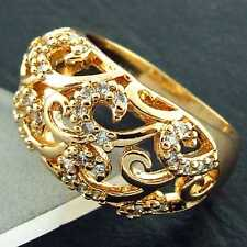 FS850 GENUINE REAL 18K YELLOW G/F GOLD SOLID DIAMOND SIMULATED ANTIQUE RING