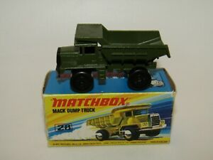 Matchbox Superfast No 28 Mack Dump Truck Military Green VNMIB MIB