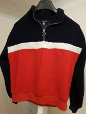 Womens New Look Fleece Top Size 10 Red White and Blue