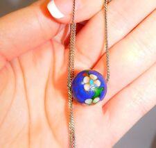 VINTAGE ENAMEL CLOISONNE Sphere, Globe, Ball PENDANT Floral Blue White 3d 70