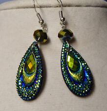 UNIQUE Tear Drop SHAPED Peacock Color EARRINGS Bead BLING Handcrafted Nora Winn