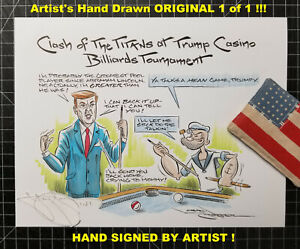 NEW! 1of1 TRUMP Casino BILLIARDS Tourney POOL Sharks Welcome! HUSTLER Orignl Art