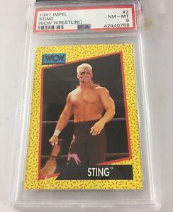 Sting 1991 Impel Wcw Wrestling #2 Psa 8 Pop 7 Aew