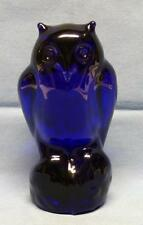 "ART GLASS OWL COBALT BLUE SIGNED TYKO AXELSSON SWEDEN SZ-5 1/2""T HEAVY VNT RARE"