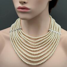 Women White Pearl Multi Layered Strand Bead Chunky Necklace 7121 Crystal String
