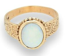 9Carat Yellow Gold Opal Solitaire Ring (Size Q) (8x10mm Opal)
