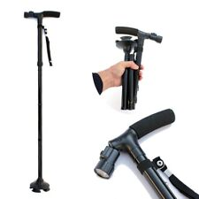 6 LEDs Adjustable Medical Walking Cane Stick Aid Quad Cane Small Base Walker