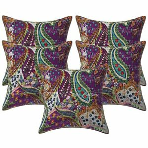 Ethnic Decorative Sofa Cushion Covers 16 x 16 Kantha Printed Cotton Pillow Cases