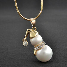 Elegant Snowman White Pearl Pendant Long Necklace For Women Christmas Jewelry