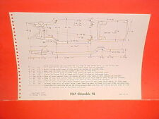 1967 OLDSMOBILE 98 CONVERTIBLE HOLIDAY COUPE TOWN SEDAN FRAME DIMENSION CHART