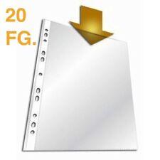 20 Buste Schede A4 Plastica Trasparenti Cartellette per Raccoglitori Anelli dfh