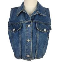 Vintage USA Be Bop Jean Jacket Vest Size M Medium Blue Stretch Denim Medium Wash