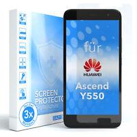 3x SCHUTZGLAS PANZER DISPLAYFOLIE ECHT GLAS 9H FÜR Huawei Ascend Y550