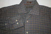 Peter Millar Men's Sz LARGE 100% Cotton Brown Plaid LONG Sleeve Button Shirt