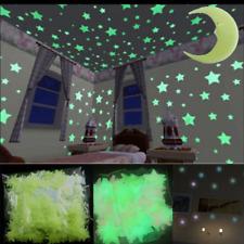 100 x Glow In The Dark Star Moon Wall Sticker Kids Nursery Bedroom Ceiling Decor