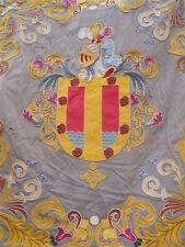 ANTIQUE COAT OF ARMS HERALDIC EMBROIDERY ON WOOL FABRIC ARMOR AND PLUME