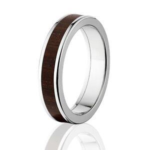 Brazilian Ebony in Titanium Ring, Exotic Hard Wood Wedding Band , Wood rings